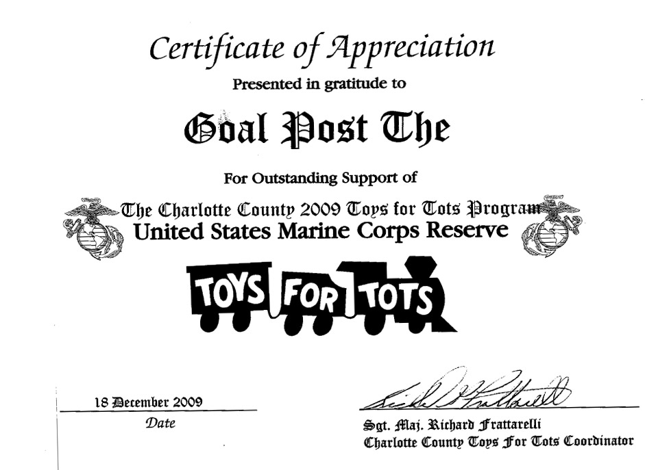 Sample Letters Toys For Tots : Thank you letters smugglers enterprises inc foundation