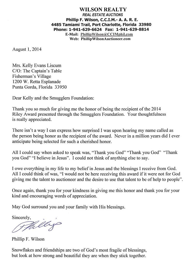 Lovely 8 1 2014 Riley Award Letter
