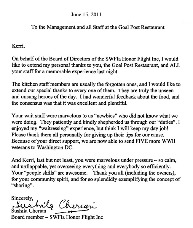 honor flight letter examples thank you letters smugglers enterprises inc foundation 11177